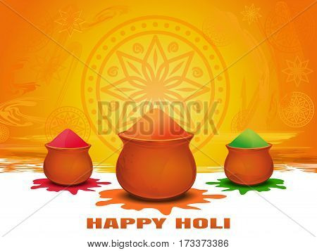 Annual Hindu festival of spring. Festival of colors.  Happy Holi.  Vector template for leaflet, banners, posters, etc. Template to Holi festival. Happy Holi card