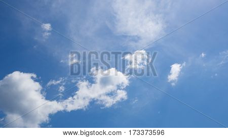 Clear blue sky background with tinny clouds.