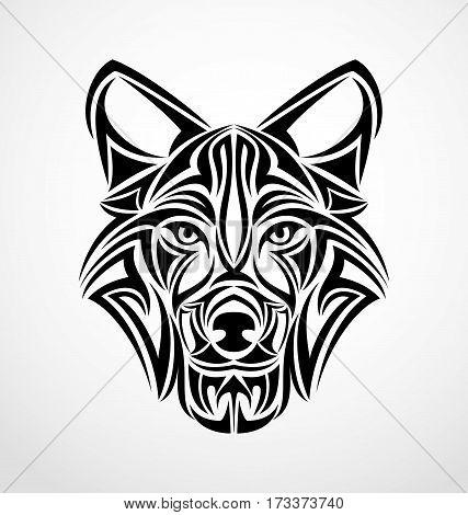 Wolf face tribal tattoo design vector illustration