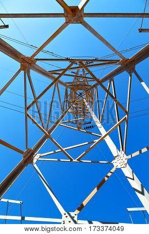 In Iran Electrical Pylon In The  Sky