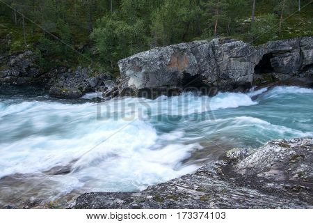 Mountain River In Norway Summer Trip