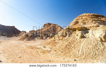 Hiking in mideast stone desert tourism of Israel