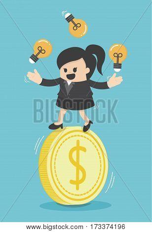 Concept business woman play acrobatic bulbs on money