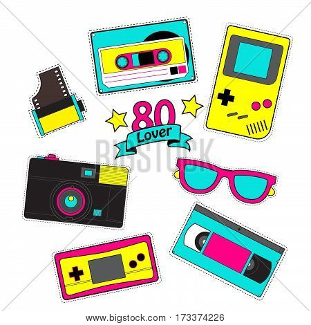 Fashion patch badges Set of stickers pins patches in cartoon 80s-90s pop-art comic style vector Illustration.