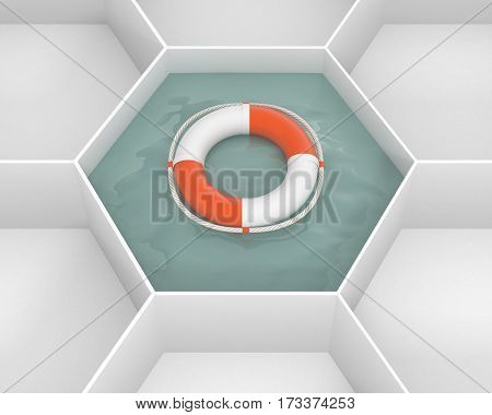 White hexagon cells with Life Saver buoy at the pool water. Life ring floating at the sea water. Concept and idea mockup background 3d image.