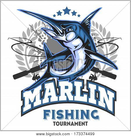 Blue marlin fishing logo illustration. Vector illustration on white.