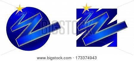 Set of original characters, logos film industry. Vector illustration