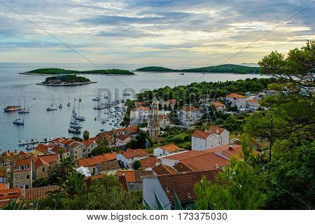 Beautiful view of old town Hvar on island Hvar in Croatia at sunset