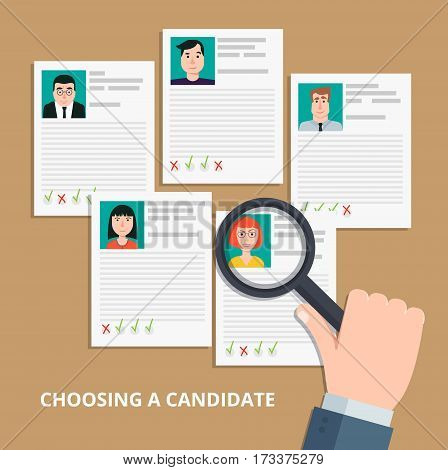 Modern colorful flat style vector illustration. HR manager looking through a magnifying glass on job candidates.Searching professional staff analyzing personnel resume recruitment.