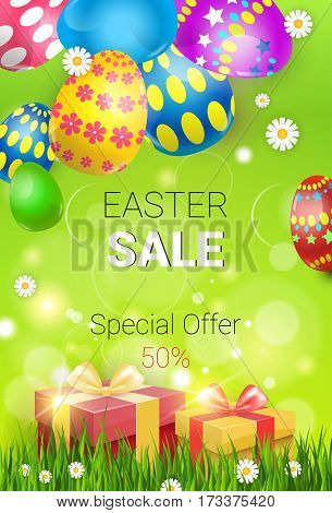 Easter Sale Shopping Special Offer Decorated Colorful Egg Holiday Banner Flat Vector Illustration