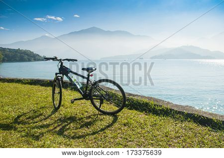Bicycle In Fron Of The Lake And Mountain At Sun Moon Lake In Taiwan