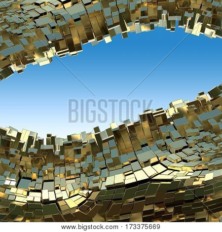 Abstract golden frame made of cubes background in yellow tone. 3d abstract background. Waterscape. Copyspace for your design and text.