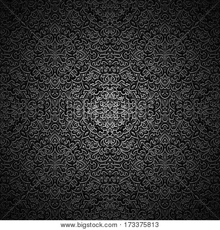 Ornamental black background, vintage dark swirly pattern