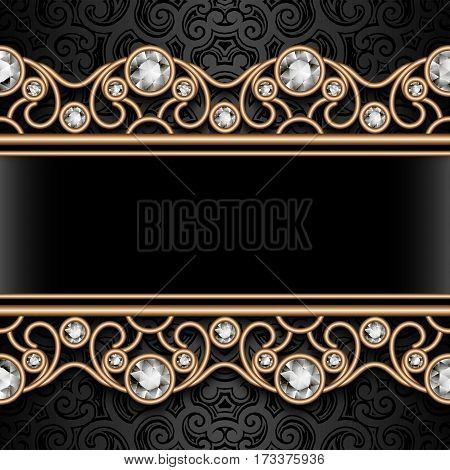 Vintage gold ornamental background, vector jewelry frame with filigree diamond borders