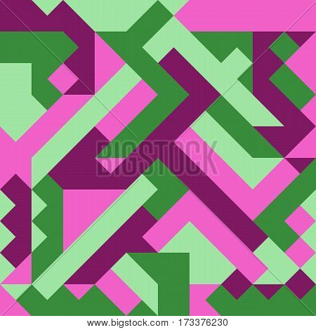 Vector illustration of a seamless pattern of simple geometric objects in direct green light green crimson and pink colors.