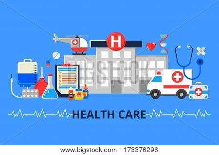 Vector illustration in modern flat style. Web banner with hospital ambulance and a lot of medical things. Health care concept.
