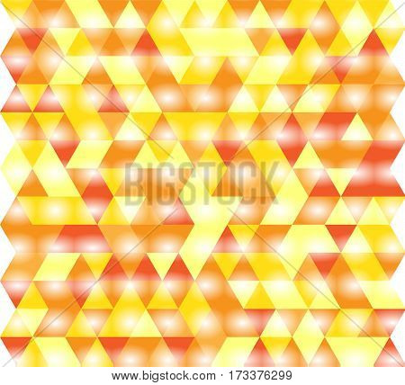 Vector illustration of a seamless pattern of simple equilateral triangles in glowing red orange and yellow colors.