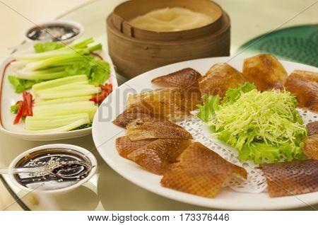 Roasted Peking Duck In Chinese Food Restaurant