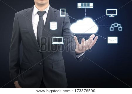 Professional Businessman Connecting Network On Hand In Cloud Technology, Communication And Business