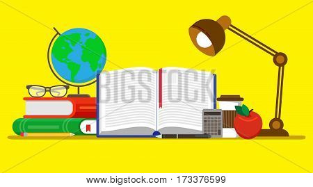 Vector illustration in modern flat design. Education concept web banner. Colorful composition with open book, globe, apple and lamp. Book reading
