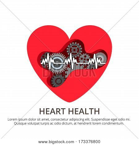 Health care cardiology creative concept. Healthy Heart with the mechanism inside. Disease prevention, medicine vector illustration for web, info graphic and graphic design.