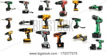set cordless rechargeable screwdrivers on white background