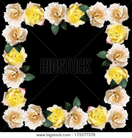 Beautiful floral background with yellow and cream roses