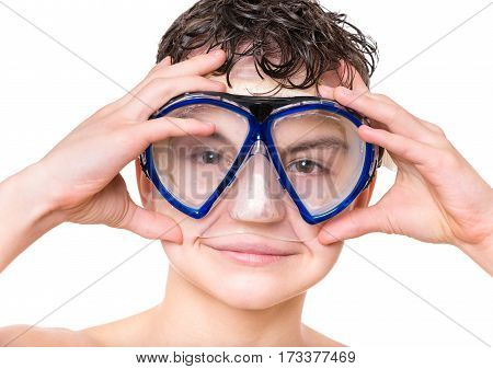Close-up portrait of happy teen boy wearing mask for diving and snorkelling isolated on white background.
