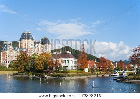 Scenic view landscape of European architecture in autumn at Huis Ten Bosch