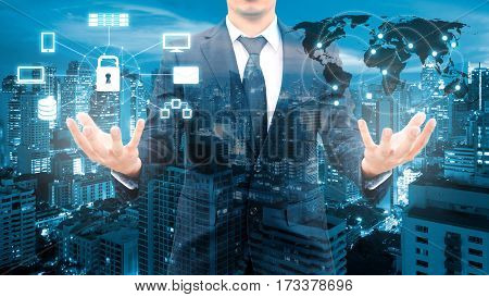 Double Exposure Of Professional Businessman Security Technology Protection And Network Connection Wi