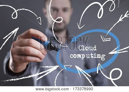 Technology, Internet, Business And Marketing. Young Business Man Writing Word: Cloud Computing