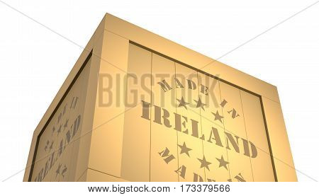 Import - Export Wooden Crate. Made In Ireland. 3D Illustration