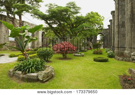 CARTAGO, COSTA RICA - JUNE 17, 2012: View to the inner yard at the ruins of the Santiago Apostol church in Cartago,  Costa Rica.