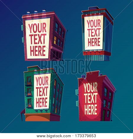 Night set of vector isolated isometric icons buildings in cartoon style with a large billboard on the wall, outdoor advertising banners on buildings with your text in the light of lanterns