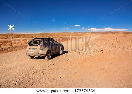 San Antonio De Los Cobres Argentina - November 2 2016: Car Renault Duster on Ruta ex 40 in Salta province from San Antonio Los Cobres to Salta