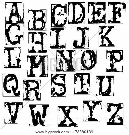 Vector old typewriter font. Vintage grunge letters. Old destroyed printed letters