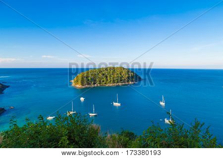 Naiharn Bay With Yatch Boat At Windmill Viewpoint