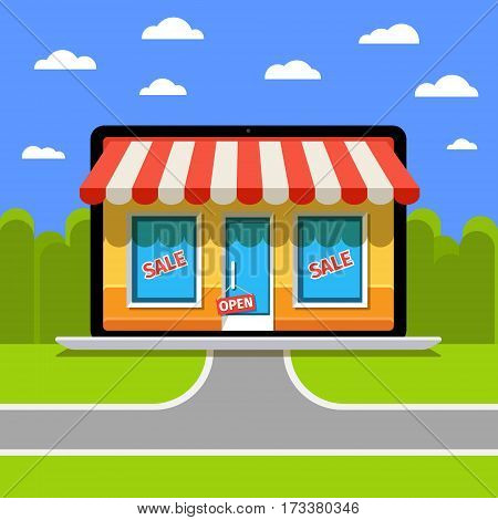 Internet shopping concept. E-commerce. Online store. Web money and payments. Pay per click.
