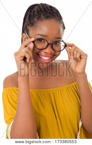 Happy african girl with glasses isolated on white background