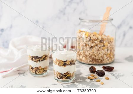 Spiced Yogurt With Granola In Glasses