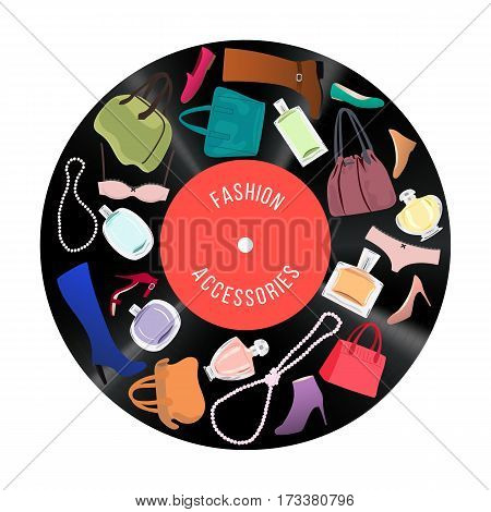 Patch of fashionable Woman items and accessories. Stylish Collection of bags shoes high heels perfume cosmetics jewelry bikini on vinil disc. Disco background. Vector illustration.