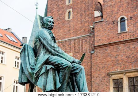 Statue Of The Polish Poet, Playwright And Comedy Writer Aleksander Fredro In The Market Square In Fr