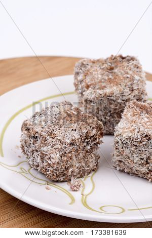 Homemade Chocolate Cookie With Coconut Over White Background