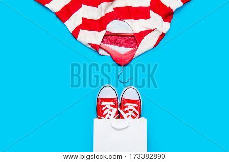big red gumshoes in cool shopping bag and stried jacket on hanger on the wonderful blue background poster