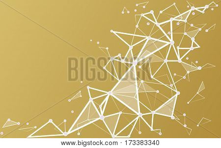 Abstract triangles space low poly. White gold background with connecting dots and lines. Light connection structure. Polygonal vector background. Futuristic HUD.