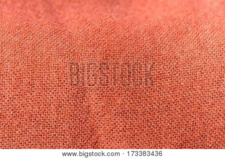 Textile Background Terracotta Color With A Wide Weave Thread Close Up