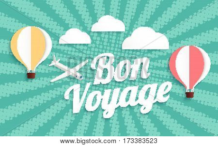 hot air balloon bon voyage on halftone background, vector illustration EPS10