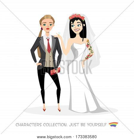 Two women lesbians marry each other. Free love and tolerance in the modern world. Gay wedding. Just be yourself. Fashion unconventional relationship.