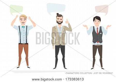 Three modern men communicate. Dialog bubble for communication. Guys with emotions of joy, doubt, delight talking.
