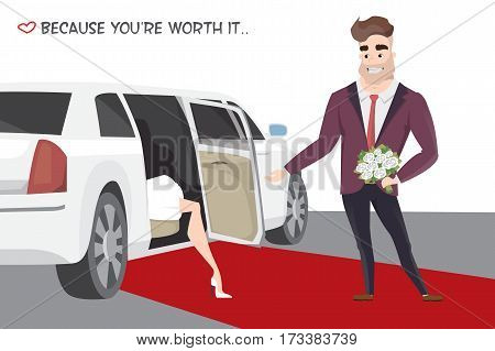 Famous girl out of limo on red carpet. Man with bouquet meets celebrity on red carpet. Awarding actors and celebrities.